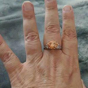 Citrine and silver cocktail ring sz 10